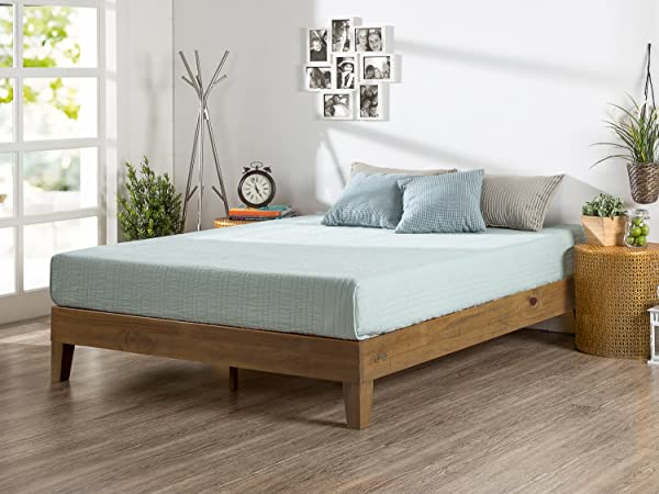 Zinus Alexis 12 Inch Deluxe Wood Platform Bed No Box Spring Needed Wood Slat Support Rustic Pine Finish Queen