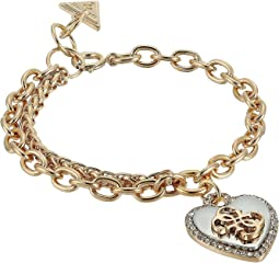 GUESS - Pave Framed Heart Charm Bracelet with 4 G Logo