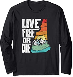 Live Free or Die Retro New Hampshire Nature Long Sleeve Tee