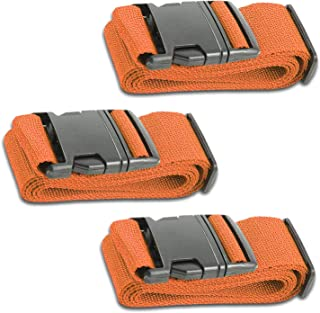 Orange Luggage Belts Suitcase Straps Adjustable and Durable, Name Card, Travel Case Accessories, 3 Pack