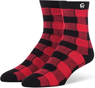 Plaid Bamboo Crew Socks Seamless Toe Great Gift Idea Super Absorbent Material Shoe Women's Size 4-10 & Men's Size 4-9