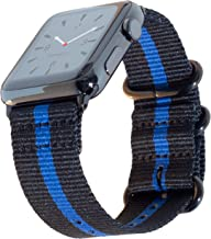 Carterjett Extra Large Thin Blue Line Nylon NATO Compatible Apple Watch Band 44mm 42mm XL 8-10.5