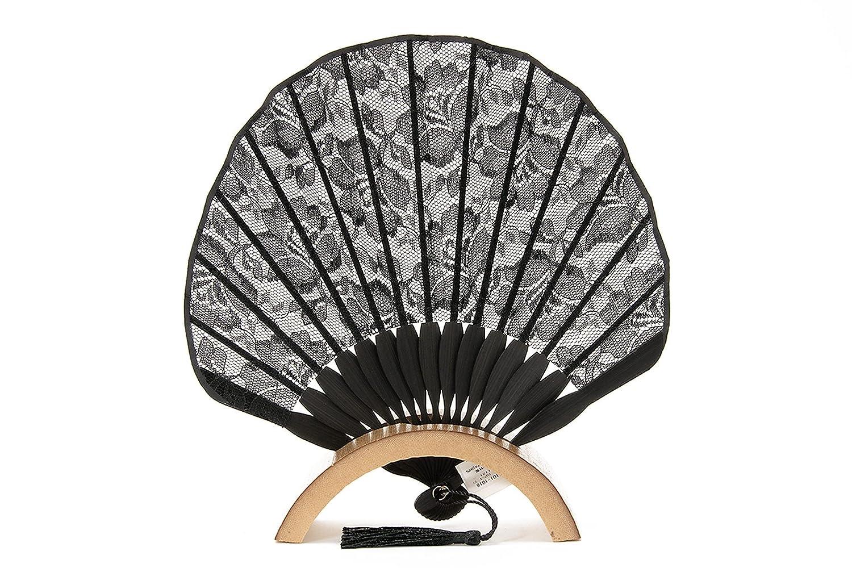 (ソウビエン) 扇子セット 黒 ブラック 大花 フラワー レース チュール 房飾り 扇子入れ付き カジュアル センス せんす 末広 女性用 レディース 和装小物