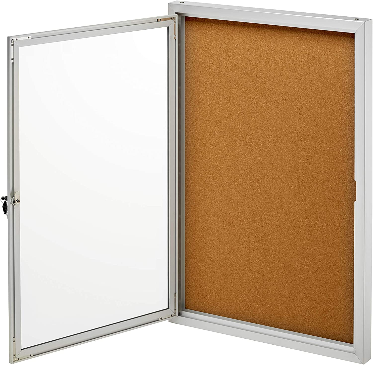 Adiroffice Enclosed Bulletin Boards 24 X36 W Key Security Innovative Feature Secures Important Documents Silver Cork Amazon Co Uk Office Products