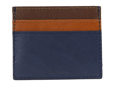 Madewell The Leather Card Case: Color-Block Edition (Bengali Indigo Multi) Handbags