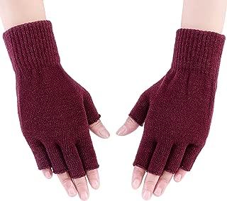 Women's Girls' Knitted Half Finger Gloves Warm Stretchy