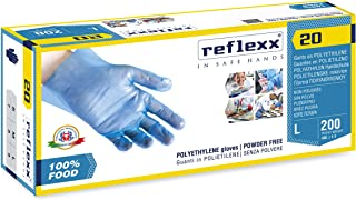 Reflexx R20 Polyethyleen handschoenen ideaal voor voedselverwerking, Blauw (Pak van 100), S, Blauw, 100