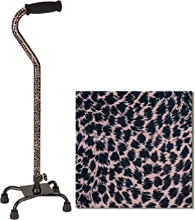 "NOVA Designer Quad Cane, Lightweight Four Legged Cane with Soft Grip Handle, Height (for Users 4'11"" - 6'4"") and Left or Right Adjustable, Leopard Design"