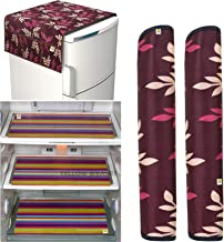 Yellow Weaves™Combo of Exclusive Decorative Fridge Top Cover, 2 Fridge Handle Covers + 3 Fridge Mats (Multi Color, 6 Piece Set)