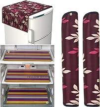 Yellow Weaves™Combo of Exclusive Decorative Fridge Top Cover, 2 Fridge Handle Covers + 3 Fridge Mats (Multi Color, 6 Piece Set)