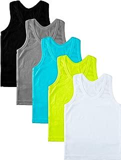 5 Pack Toddler Kids Cotton Tank Top Undershirts Boys or Girls Soft Undershirt Tees