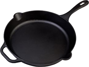 Victoria 12 Inch Cast Iron Skillet. Large Frying Pan with Helper Handle, Seasoned with 100% Non-GMO Flaxseed Oil, Kosher Certified