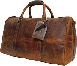 Handmade Extra Strong Buffalo Leather Duffel Bags For Men - Airplane Underseat Carry On Luggage By Rustic Town