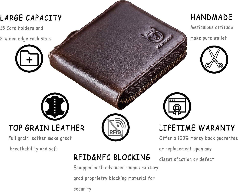Genuine Leather Men Zipper Wallet,RFID Blocking Bifold Zip Around Mens Wallets Card Holder Purse (Brown)