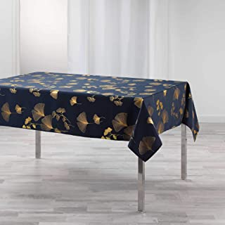 DOUCEUR D'INTERIEUR nappe rectangle 150 x 240 cm polyester imprime metallise bloomy marine/or