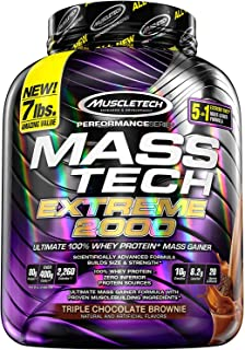 Muscletech Mezcla de Proteínas y Aminoácidos Mass-Tech Extreme 2000, Triple Choco Brownie, 7 lb