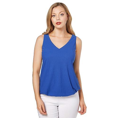 0ccda22dc8 Roman Originals Women s V-Neck Bubble Hem Vest Top - Ladies Soft Jersey  Plain Summer