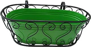 Green Gardenia Railing Planter or Window Box Planter with Metal Pot (Green)