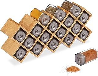 Relaxdays Especiero con 18 botes para especias, Bambú & Cristal, Organizador de cocina, 18 x 44 x 9,5 cm, Marrón