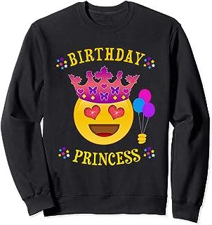 Cute Birthday Princess Emoji Sweatshirt for Girls & Teens