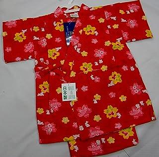お子様甚平 綿リップル うさぎ金魚赤地色 90/95サイズ 女の子用 日本製