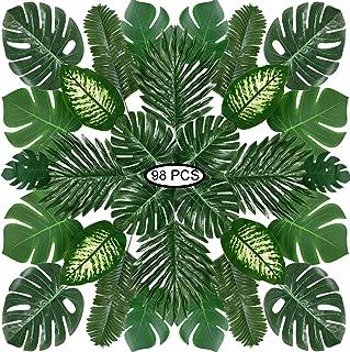 Hojas de Palma Artificiales, PietyPet 98 Piezas 8 tipos Flores de Simulación Verde Plantas Artificiales, Falso Hojas de Monstera con tallos para Luau, Fiestas Decoraciones Eventos, Bodas, Hawaiano