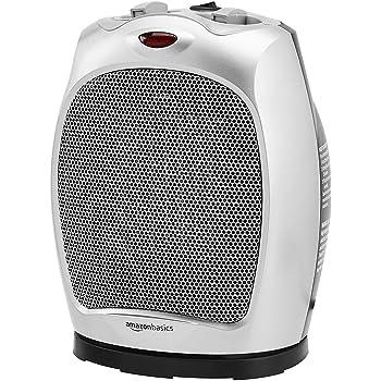 AmazonBasics 1500W Oscillating Ceramic Heater with Adjustable Thermostat, Silver