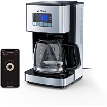 Atomi Smart Coffee Maker - WiFi-Compatible with Alexa, Google Assistant, iOS, Android, and the Atomi Smart app, Black/Stainless Steel, 12-Cup Glass Carafe and Reusable, Washable Filter