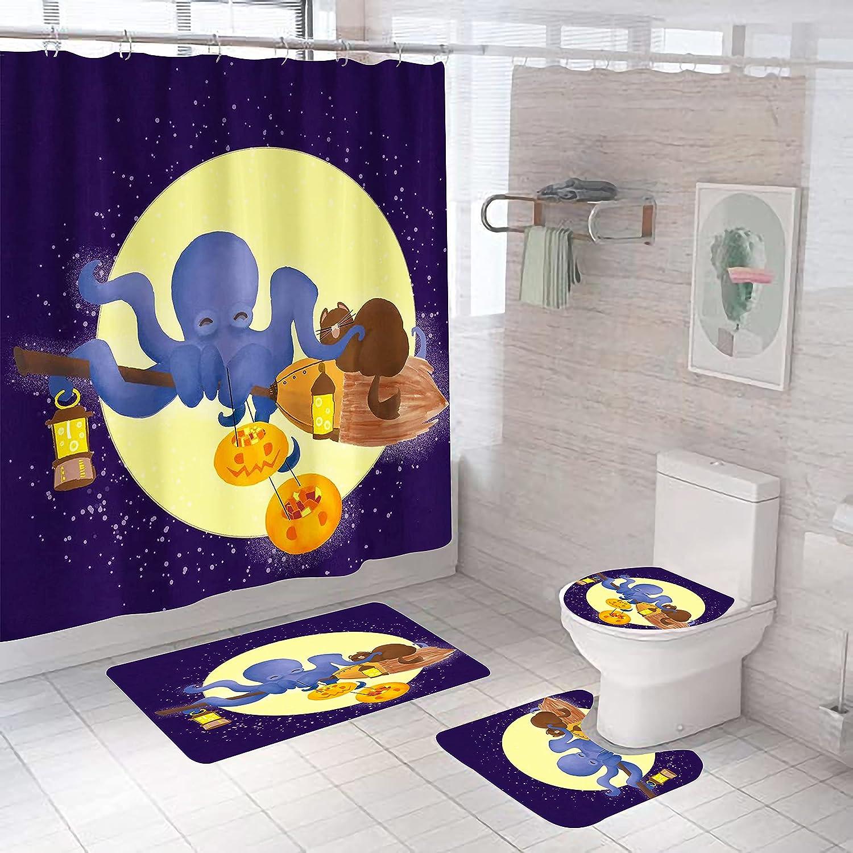 4-Piece Octopus Shower Curtain Max 80% OFF Set wit4-piece Large-scale sale Cur
