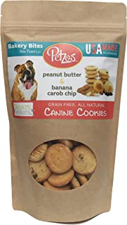 Petzos Grain Free Dog Treats | 2 Flavors - Banana & Peanut Butter Dog Biscuits | Hypoallergenic | Gluten Free Dog Treats | Hand-Crafted by The Batch | 100% All Natural Gourmet | USA Made Dog Treats