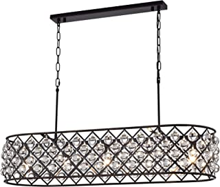 Edvivi Azha 5-Light Oil Rubbed Bronze Oval Kitchen Island Pendant Chandelier with Crystal Spheres | ORB | Glam Lighting