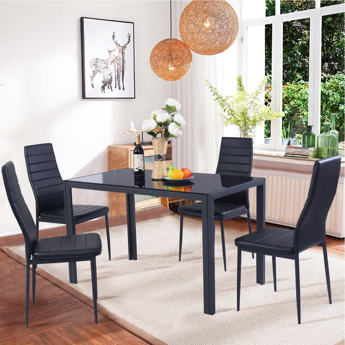 Casart Kitchen Dining Table and Top Chair Set with Ranking TOP9 Glass Nippon regular agency