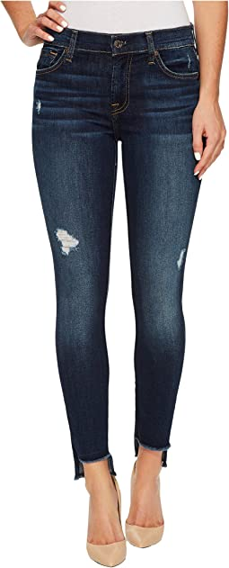 7 For All Mankind - The Ankle Skinny w/ Step Hem & Destroy in Dark Riverside Drive