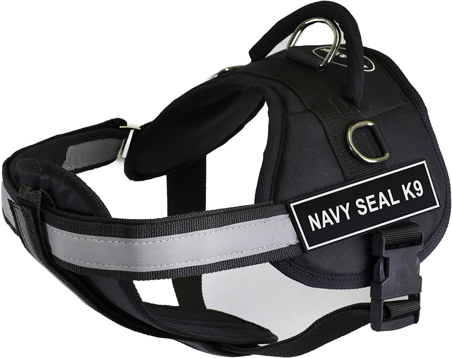 Dean & Tyler 25Inch to 34Inch Pet Harness with Padded Reflective Chest Straps, Small, Navy Seal K9, Black