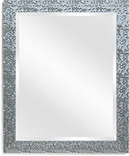 Wall Beveled Mirror Framed - Bedroom or Bathroom Rectangular Frame Hangs Horizontal & Vertical by EcoHome (27x33, Silver)