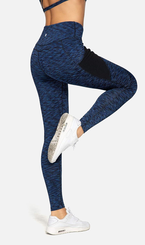 QUEENIEKE Women Yoga Leggings Power Flex Mesh Mid Waist 3 Phone Pocket Gym Running Tights
