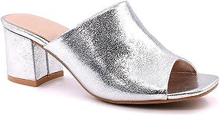 Chaussure Mode Mule Petits Talons Ouvert Claquette Femme Simple Basique Classique Talon Bloc Angkorly