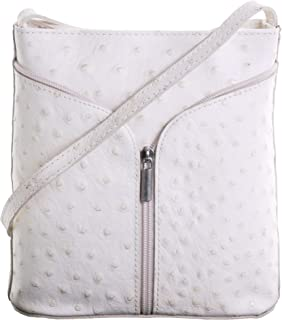 Primo Sacchi® Ladies Italian Leather Hand Made Ostrich Effect Small Cross Body or Shoulder Bag Handbag. Includes a Branded Protective Storage Bag.