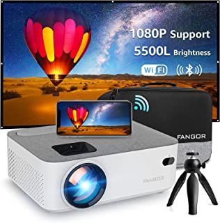 WiFi Projector Bluetooth Projector, Fangor 4500 Lux Portable Movie Projector Full HD 1080P Supported, Compatible with TV S...