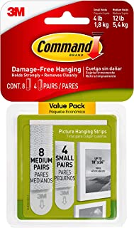 Command Picture Hanging Strips Variety Value Pack, 4-Small and 8-Medium Pairs (17203-ES), White