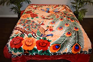 V's Signature Collection Oriental Peacocks Asian Asia Luxury Super Soft Medium Weight Queen Size Mink Blanket 1ply