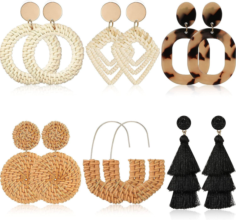 6 Pairs Women Handmade Rattan Earrings Statement Acrylic Earrings Geometric Straw Earrings Tassel Hoop Earrings