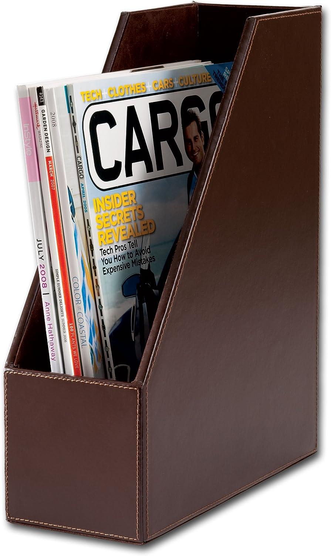Dacasso Dark Brown Bonded Leather Magazine Rack