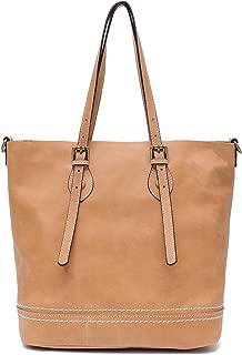 Genuine Leather Women's Shoulder Bag STEPHIECATH Large Casual Soft Real Leather Skin Tote Vintage Snap Basket Carry Bag (MUSTARD)