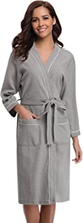 Bathrobes for Women Waffle Weave Spa Robe Womens Kimono Lightweight Cotton Robe