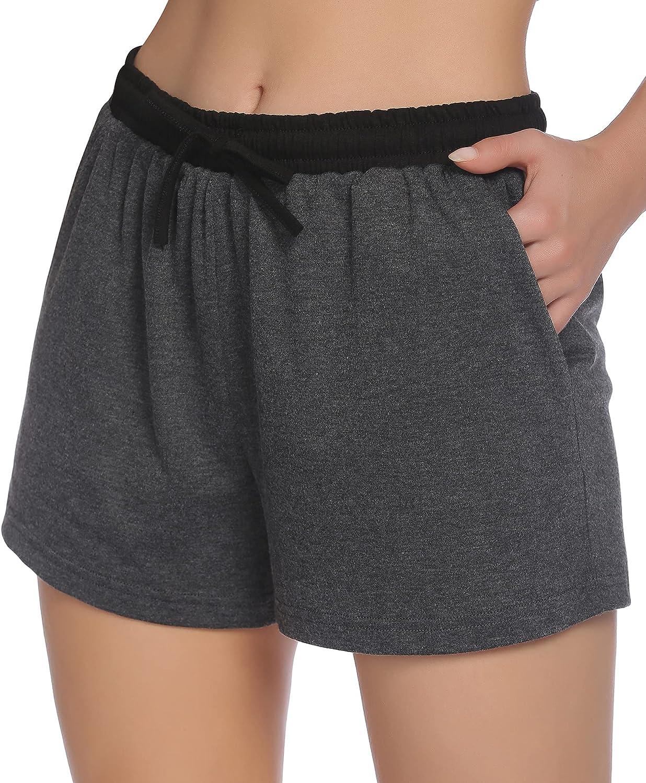 Ekouaer Women's Pajama Shorts Soft Sleep Shorts with Drawstring Pockets Boxer Shorts Sleepwear Casual Lounge Shorts