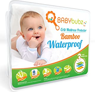 Bamboo Crib Mattress Protector - Waterproof Pad Cover Protects Baby Mattress from Infant & Toddler Diaper Leaks - Soft Padding, Fitted Sheet Design, Breathable, Hypoallergenic, Non-Toxic & Washable