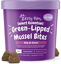 Zesty Paws New Zealand Green Lipped Mussel Chewable Treats for Dogs - with Natural Glucosamine & Chondroitin + Omega-3 Fatty Acids & Protein - Dog Hip & Joint Support Supplement Soft Chews