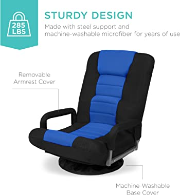 Best Choice Products Swivel Gaming Chair 360 Degree Multipurpose Floor Chair Rocker for TV, Reading, Playing Video Games w/Lu