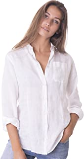 Women's 100% Linen Casual Shirts Long Sleeve Button Down Blouse Slim Top